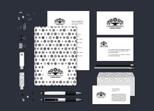 Stylized tree. The neutral black-and-white corporate identity with the stylized tree. Samples of business cards, a disk, a flag, a pen, a flash card, a form, an Royalty Free Illustration