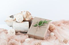 Holiday gift wrapped in brown paper Stock Photography
