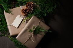 Holiday gift wrapped in brown paper Royalty Free Stock Photography
