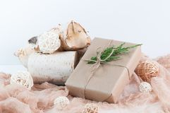 Holiday gift wrapped in brown paper Royalty Free Stock Photo