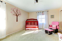 Neutral color baby nursery room Royalty Free Stock Image
