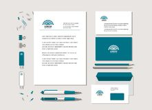 The neutral corporate style with geometrical figures. Points and the abstract sign. Samples of business cards, a flash card, a pen, an envelope. Vector Vector Illustration