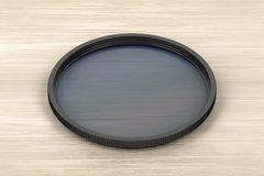 Neutral density photographic filter. On wood background vector illustration