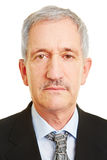 Neutral face of old business man. For biometric passprt photo royalty free stock photo