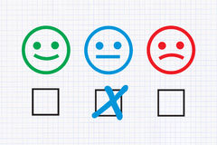 Neutral feedback. Checklist with Neutral feedback on graph paper background royalty free illustration