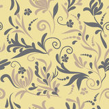 Neutral floral seamless pattern. Gray, yellow Royalty Free Stock Photography