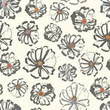 Neutral floral seamless vector pattern with colour splashes on a subtly flecked background. Hand-drawn with modern urban stock illustration