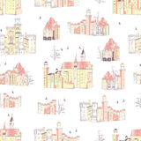 Neutral medieval castles vector seamless print Stock Photos