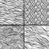 Neutral monochrome doodle seamless patterns set Royalty Free Stock Image