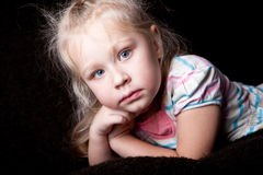 Neutral portrait of the girl child. Cute neutral portrait of the girl child Stock Photos