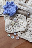 Neutral shades collection of craft items and blue flower Stock Images