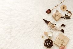 Neutral Styled Scenes for Designers, Bloggers with gift box. And decorations royalty free stock photo