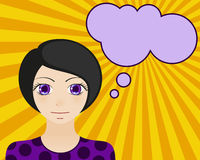 Neutral woman face. Manga style. Comic girl with speech bubble for your text Royalty Free Stock Photography