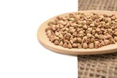 Neutralny tło Gryk adra zdrowa żywność łyżka drewniana Zdjęcie Stock