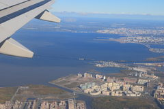 Neva Bay under the wing Stock Images