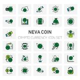 NEVA Coin Crypto Currency icons set. For web design and application interface, also useful for infographics. Vector illustration Stock Photos