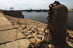 Neva. Embankment of the river with rocks on the shore Stock Images