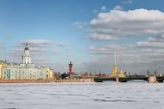 Neva flod i vinter, den Kunstkamera, slottbron, Peter och Paul Arkivfoton