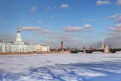 Neva flod i vinter, den Kunstkamera, slottbron, Peter och Paul Arkivbilder