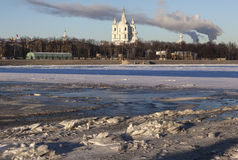 Neva ice and Smolny Cathedral. Saint Petersburg Stock Images