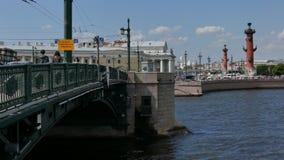 Tuchkov bridge Saint Petersburg Russia August 2016. Neva river cityscape downtown touristic sight Tuchkov bridge stock footage