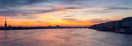Neva river in dawn. Saint Petersburg Royalty Free Stock Photography