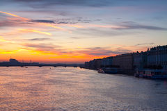 Neva river in dawn Royalty Free Stock Photos