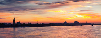 Neva river in dawn. Saint Petersburg, Russia Royalty Free Stock Photos