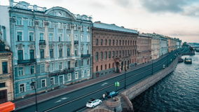 Neva River, Embankment With Houses stock video