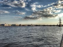 Neva river. Evening Neva river, Saint Petersburg, Russia. Photo taken by Apple iPhone 5 royalty free stock photo