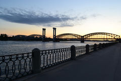 Neva river and Finnish railway bridge at sunset Stock Photography