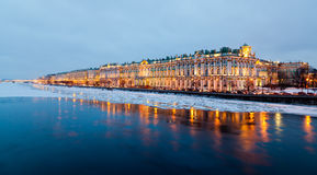 Neva river and Hermitage Stock Photo