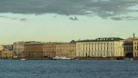 Neva River and the historic buildings stock video