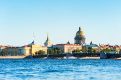 Neva river and main landmarks, St Petersburg, Russia. Neva river, Admiralty, St Isaac cathedral, St Petersburg, Russia Stock Photos
