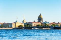 Neva river and main landmarks, St Petersburg, Russia Stock Photos