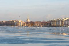The neva river in the morning royalty free stock image