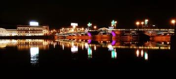 Neva River. Night scene of Neva River in St. Petersburg in Russia royalty free stock photography