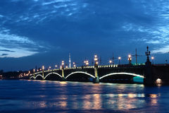 Neva River and the old bridge Royalty Free Stock Images