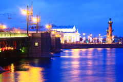 Neva River. And the Palace bridge across it in Saint Petersburg, Russia stock photos