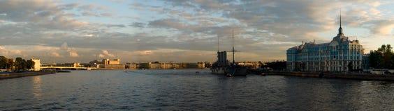 The Neva river panorama. The Neva river and the Aurora panorama Royalty Free Stock Photography