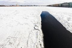 Neva river with polynya near Palace embankment. View of frozen Neva river with polynya near Dvortsovaya embankment in Saint Petersburg city in March Stock Photography