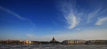 Neva river and St. Isaac's Cathedral in winter Royalty Free Stock Image