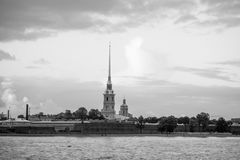 Neva River in St Petersburg. The Neva River flowing through the city of Saint Petersburg in Russia in black and white Stock Images
