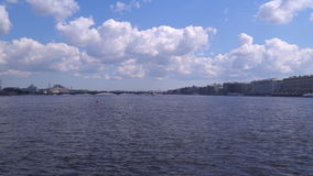 The Neva River in St. Petersburg. On the horizon the Trinity Bridge stock video footage