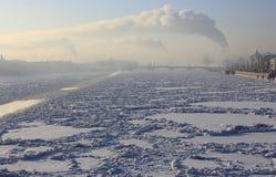 Neva River, St. Petersburg, Russia. Neva rivers, frosty day, Vasilievsky Island, St. Petersburg Attraction, Winter Petersburg, winter landscape Royalty Free Stock Image