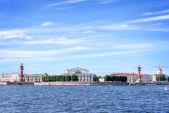 The Neva river with the Stock Exchange, St Petersburg, Russia Royalty Free Stock Photography