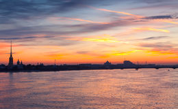 Neva river summer dawn Stock Photo