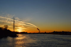 Neva River at sunset Royalty Free Stock Photos