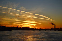 Neva River at sunset Stock Photography