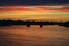 Neva river at sunset Stock Images